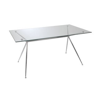 Atos 66-inch Glass Table - Clear Glass/Chrome