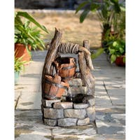 Jeco Tree Trunk and Pots Water Fountain