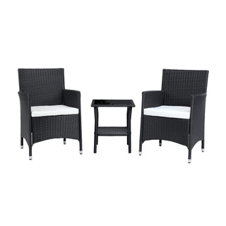 Baner Garden Outdoor Furniture Complete Patio 3 pieces Cushion PE Wicker Rattan Garden Set, Black