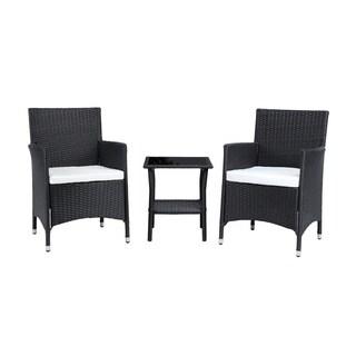 Baner Garden Outdoor Furniture Complete Patio 3 pieces Cushion PE Wicker Rattan Garden Set, Black