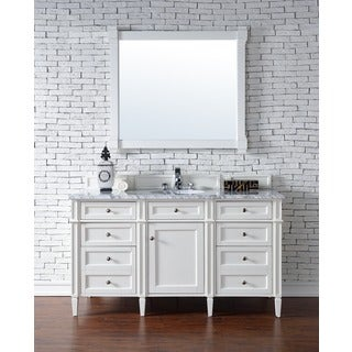 Brittany 60 Inch Single Vanity cabinet, Cottage White