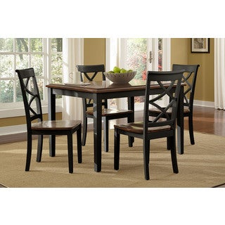 Powell Charlotte Black and Cherry 5-piece Dining Set