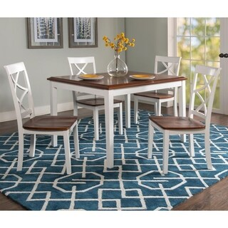 Powell Charlotte Cherry and White 5-Piece Dining Set
