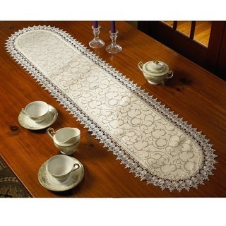 Violet Linen Flower Bow Embroidered Lace Vintage Design Table Runner