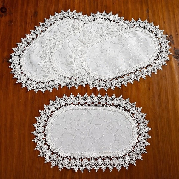 Violet Linen Flower Bow Embroidered Lace Vintage Design Table Runner   Free  Shipping On Orders Over $45   Overstock.com   17816623