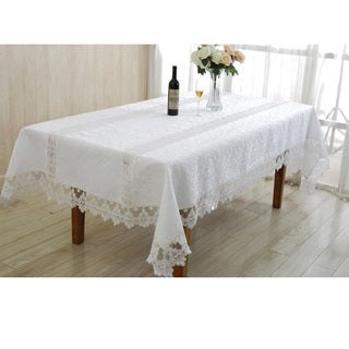 Violet Linen Glory Embroidered Vintage Lace Design Tablecloth