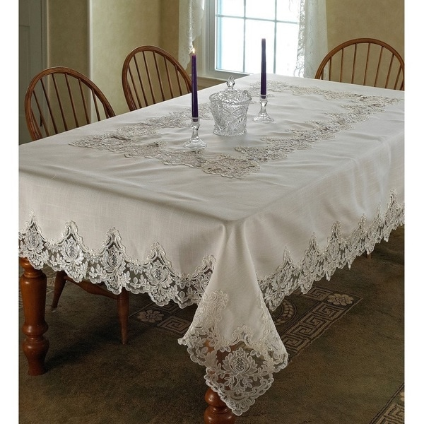 Violet Linen Imperial Embroidered Vintage Lace Design Tablecloth