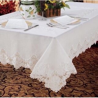 Violet Linen Imperial Embroidered Vintage Lace Design Tablecloth (More options available)