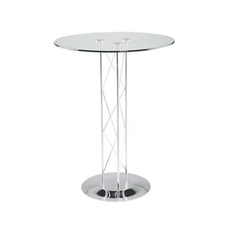Trave-B Bar Table - Clear Glass/Chrome