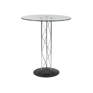 Trave-B Black with Clear Glass Bar Table