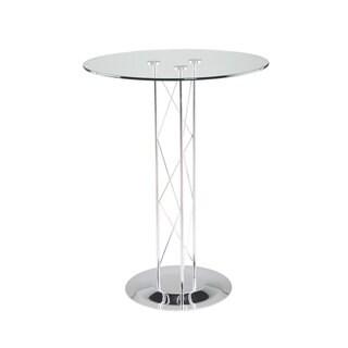 Trave 32 Inch Bar Table Clear Glass/ Chrome Column/ Chrome Base