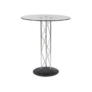 "Trave 32"" Bar Table - Clear Glass/Chrome Column/Black Base"
