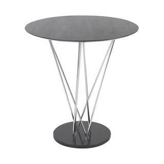 Stacy Ebony Bar Table with Chromed Steel Column, and Black Marble Base