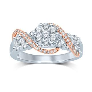 Unending Love Two Tone 14k Gold 1 1/5ct TDW Flower Head Ring