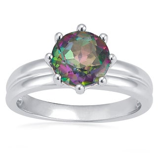 Sterling Silver Round Azotic Mystic Topaz Solitaire Ring