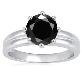 Sterling Silver Black Spinel Solitaire Ring