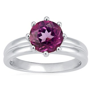 Sterling Silver Raspberry Topaz Solitaire Ring