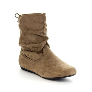 FOREVER GA42 Women's Stylish Slouch Side Zipper Flat Heel Mid-calf Boots