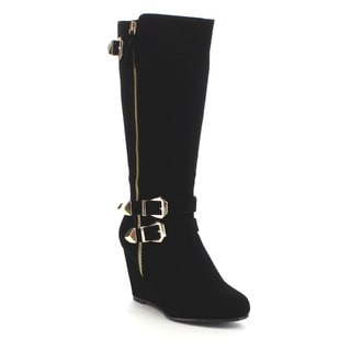 Beston GA40 Women's Chic Wedge Heel Side Zipper Mid Calf Boots