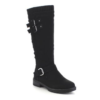 Beston GA29 Women's Comfort Woven Collar Mid Calf Lug Sole Boots