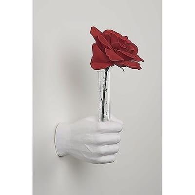 "Interior Illusions Plus White Flower Vase Grip Hand - 7"" long"