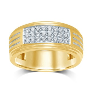 Unending Love 10k Yellow Gold Men's 1/2ct TDW 3-row Band