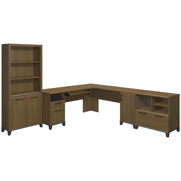 Achieve L Shaped Desk with Bookcase and Printer Stand File Cabinet ...