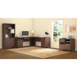 L-shaped Desk with Lateral File/ Printer Stand and Bookcase