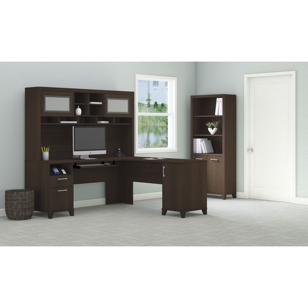 achieve l shaped desk with hutch and bookcase free. Black Bedroom Furniture Sets. Home Design Ideas