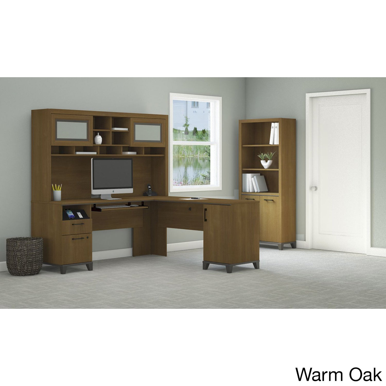 Bush Furniture Achieve L Shaped Desk with Hutch and Bookc...