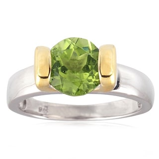 Two Tone Sterling Silver 2.10cttw Peridot Solitaire Ring