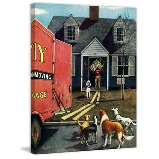 Marmont Hill - New Dog in Town by Stevan Dohanos Painting Print on Canvas