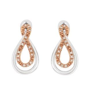 La Preciosa Sterling Silver Brown Diamond Teardrop Stud Earrings