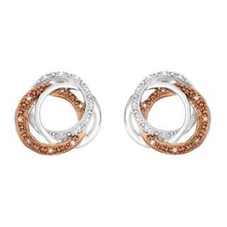 La Preciosa Sterling Silver Brown and White Diamond Swirl Stud Earrings|https://ak1.ostkcdn.com/images/products/10764912/P17816864.jpg?impolicy=medium