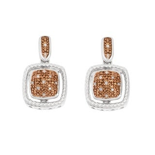 La Preciosa Sterling Silver Brown Diamonds Square Earrings