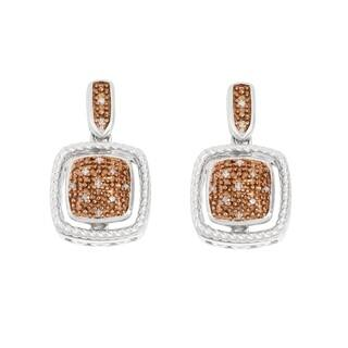 La Preciosa Sterling Silver Brown Diamonds Square Earrings|https://ak1.ostkcdn.com/images/products/10764913/P17816865.jpg?impolicy=medium