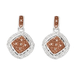 La Preciosa Sterling Silver Brown and White Diamonds Square Earrings