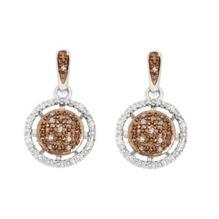 La Preciosa Sterling Silver Brown and White Diamonds Circle Earrings