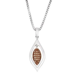 La Preciosa Sterling Silver Brown Diamond Marquise Necklace