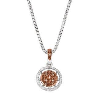 La Preciosa Sterling Silver Two-tone White and Brown Diamond Circle Necklace