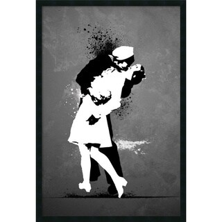 War's End Kiss - Graffiti' Framed 25 x 37-inch Art Print with Gel Coated Finish