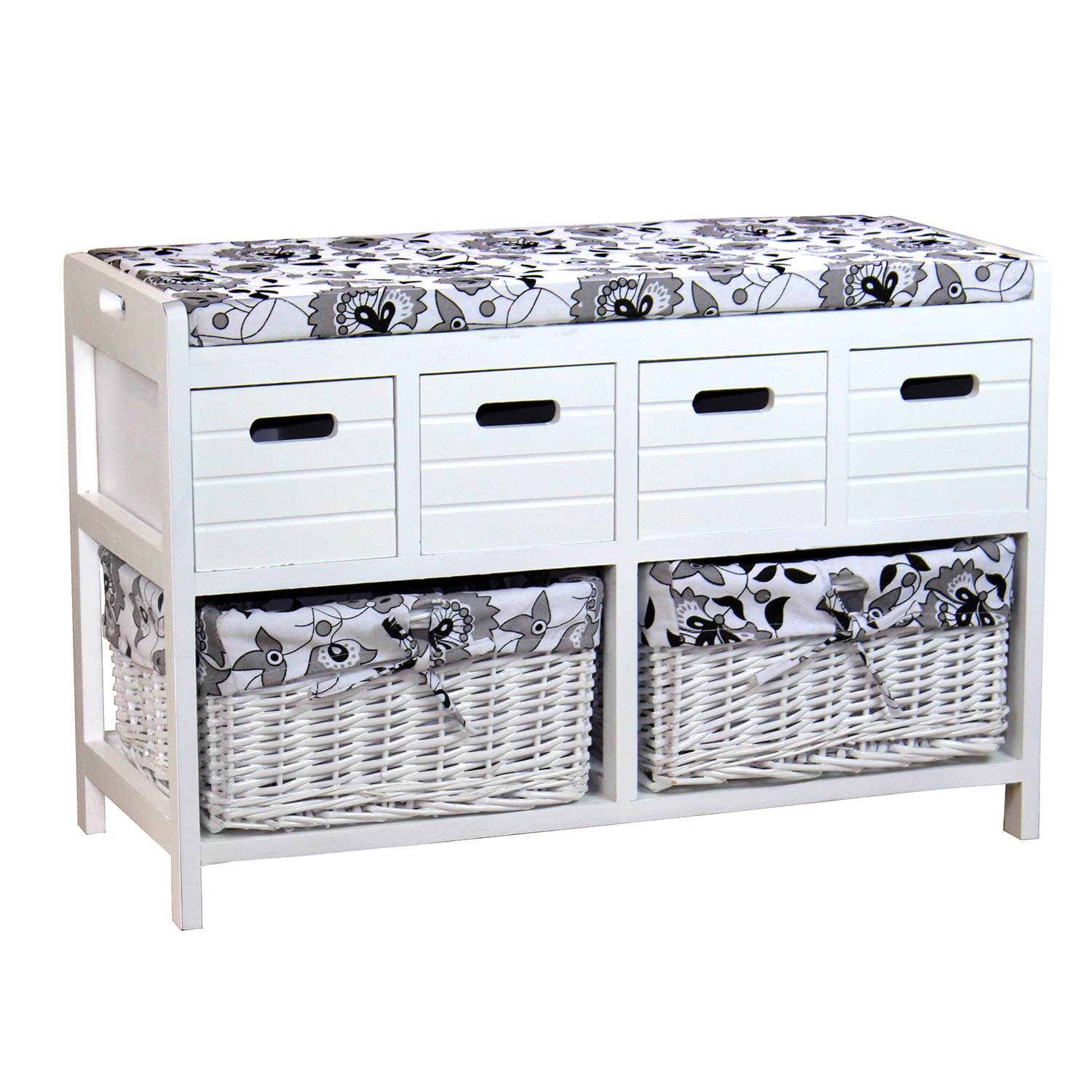 Storage Bench with Four Drawers and Two Wicker Baskets (S...