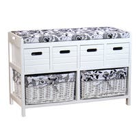 Storage Bench with Four Drawers and Two Wicker Baskets
