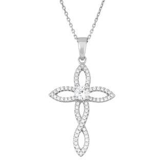 La Preciosa Sterling Silver Cubic Zirconia Designed Cross Necklace