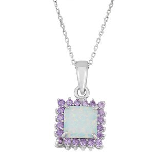 La Preciosa Sterling Silver White Opal and Purple Cubic Zirconia Necklace