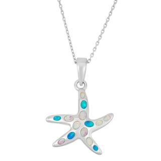 La Preciosa Sterling Silver Multi-colored Opal Starfish Necklace