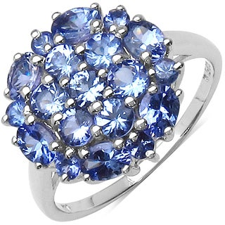Malaika Sterling Silver 1 7/8ct Genuine Tanzanite Ring
