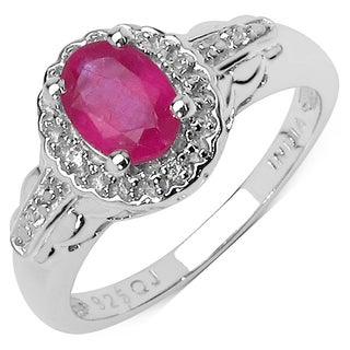 Malaika Sterling Silver 1 1/10ct Genuine Ruby and White Topaz Ring