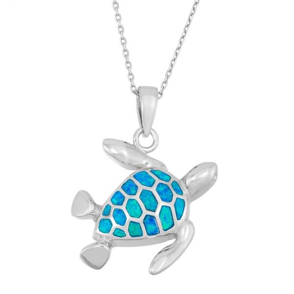 La Preciosa Sterling Silver Opal Turtle Necklace