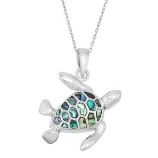 La Preciosa Sterling Silver Abalone Turtle Necklace
